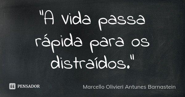 """""""A Vida passa rápida para os distraídos.""""... Frase de Marcello Olivieri Antunes Barnastein."""
