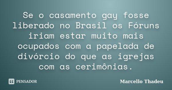 Se o casamento gay fosse liberado no Brasil os Fóruns iriam estar muito mais ocupados com a papelada de divórcio do que as igrejas com as cerimônias.... Frase de Marcello Thadeu.