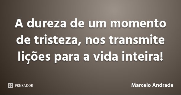 A dureza de um momento de tristeza, nos transmite lições para a vida inteira!... Frase de Marcelo Andrade.
