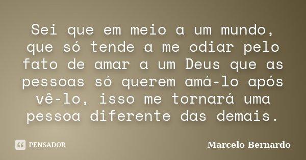 Sei que em meio a um mundo, que só tende a me odiar pelo fato de amar a um Deus que as pessoas só querem amá-lo após vê-lo, isso me tornará uma pessoa diferente... Frase de Marcelo Bernardo.