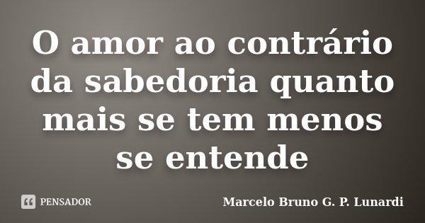 O amor ao contrário da sabedoria quanto mais se tem menos se entende... Frase de Marcelo Bruno G. P. Lunardi.