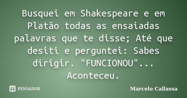 """Busquei em Shakespeare e em Platão todas as ensaiadas palavras que te disse; Até que desiti e perguntei: Sabes dirigir. """"FUNCIONOU""""... Aconteceu.... Frase de Marcelo Callassa."""