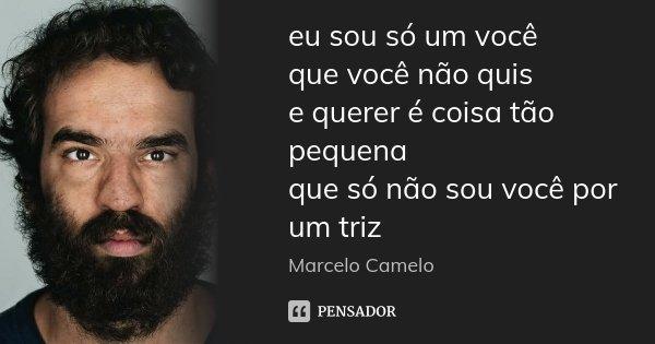 eu sou só um você que você não quis e querer é coisa tão pequena que só não sou você por um triz... Frase de Marcelo Camelo.