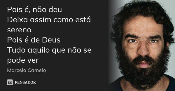 Pois é, não deu Deixa assim como está sereno Pois é de Deus Tudo aquilo que não se pode ver... Frase de Marcelo Camelo.
