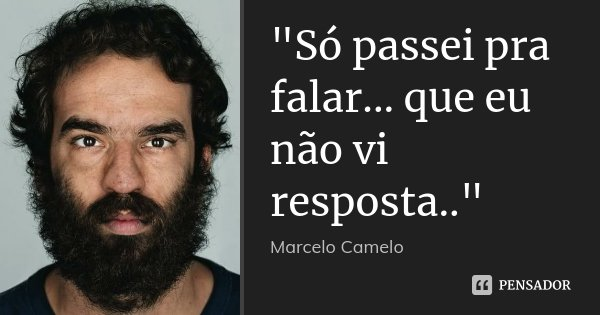 """""""Só passei pra falar... que eu não vi resposta..""""... Frase de Marcelo Camelo."""