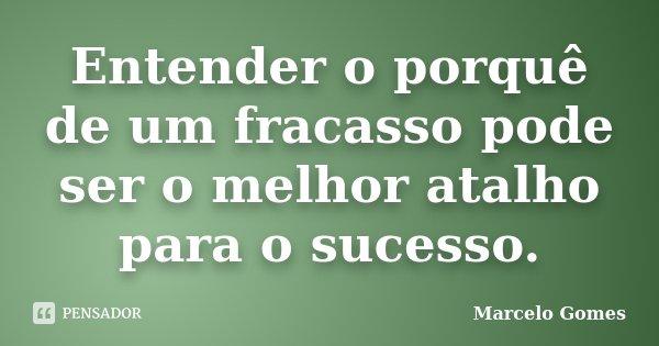 Entender o porquê de um fracasso pode ser o melhor atalho para o sucesso.... Frase de Marcelo Gomes.