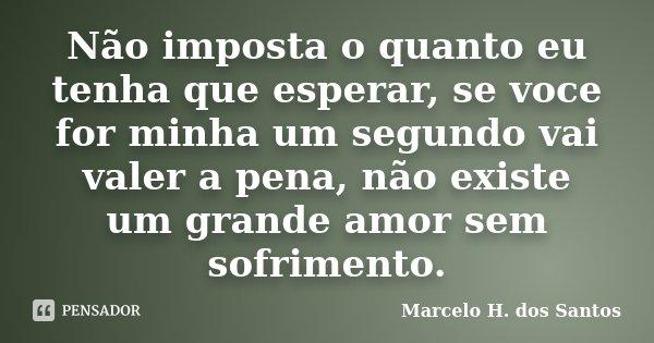 Não imposta o quanto eu tenha que esperar, se voce for minha um segundo vai valer a pena, não existe um grande amor sem sofrimento.... Frase de Marcelo H. dos Santos.