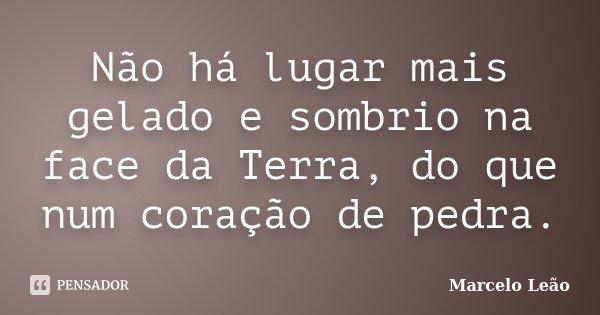 Não há lugar mais gelado e sombrio na face da Terra, do que num coração de pedra.... Frase de Marcelo Leão.