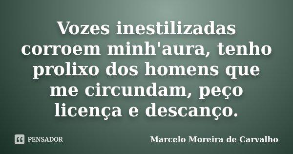 Vozes inestilizadas corroem minh'aura, tenho prolixo dos homens que me circundam, peço licença e descanço.... Frase de Marcelo Moreira de Carvalho.