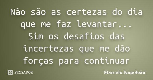 Não são as certezas do dia que me faz levantar... Sim os desafios das incertezas que me dão forças para continuar... Frase de Marcelo Napoleão.