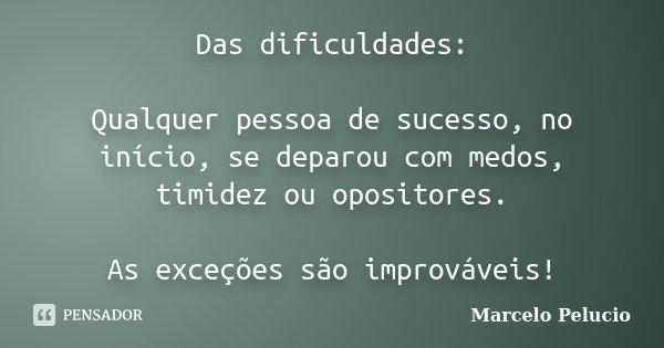 Das dificuldades: Qualquer pessoa de sucesso, no início, se deparou com medos, timidez ou opositores. As exceções são improváveis!... Frase de Marcelo Pelucio.