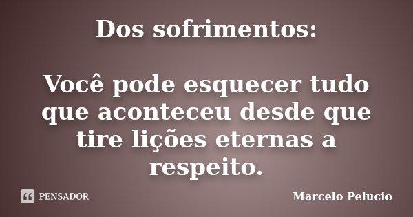 Dos sofrimentos: Você pode esquecer tudo que aconteceu desde que tire lições eternas a respeito.... Frase de Marcelo Pelucio.