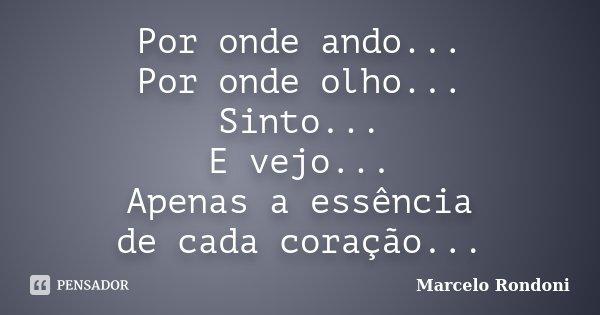 Por onde ando... Por onde olho... Sinto... E vejo... Apenas a essência de cada coração...... Frase de Marcelo Rondoni.