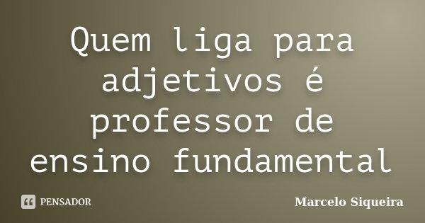 Quem liga para adjetivos é professor de ensino fundamental... Frase de Marcelo Siqueira.