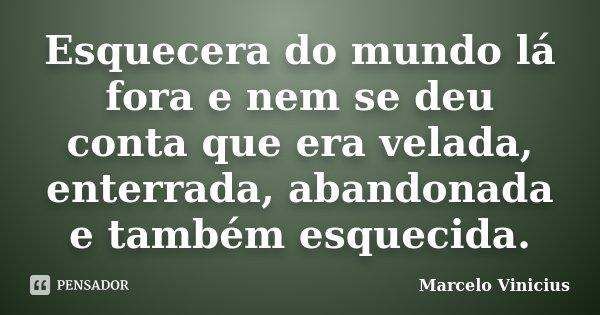 Esquecera do mundo lá fora e nem se deu conta que era velada, enterrada, abandonada e também esquecida.... Frase de Marcelo Vinicius.