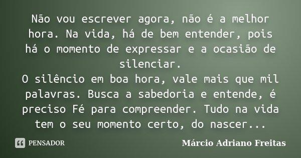 Não vou escrever agora, não é a melhor hora. Na vida, há de bem entender, pois há o momento de expressar e a ocasião de silenciar. O silêncio em boa hora, vale ... Frase de Márcio Adriano Freitas.