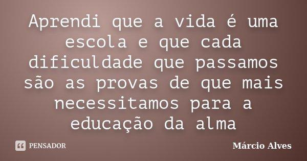 Aprendi que a vida é uma escola e que cada dificuldade que passamos são as provas de que mais necessitamos para a educação da alma... Frase de Márcio Alves.