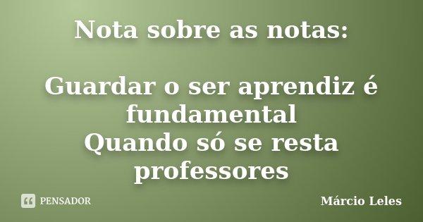 Nota sobre as notas: Guardar o ser aprendiz é fundamental Quando só se resta professores... Frase de Márcio Leles.