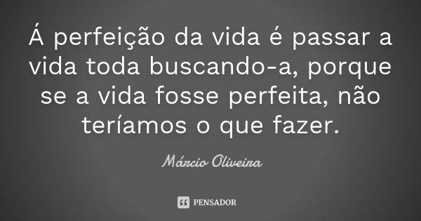 Á perfeição da vida é passar a vida toda buscando-a, porque se a vida fosse perfeita, não teríamos o que fazer.... Frase de Márcio Oliveira.
