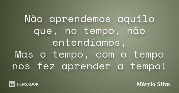 Não aprendemos aquilo que, no tempo, não entendíamos, Mas o tempo, com o tempo nos fez aprender a tempo!... Frase de Márcio Silva.