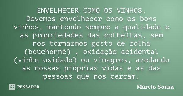 ENVELHECER COMO OS VINHOS. Devemos envelhecer como os bons vinhos, mantendo sempre a qualidade e as propriedades das colheitas, sem nos tornarmos gosto de rolha... Frase de Márcio Souza.
