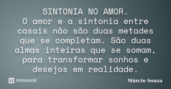 SINTONIA NO AMOR. O amor e a sintonia entre casais não são duas metades que se completam. São duas almas inteiras que se somam, para transformar sonhos e desejo... Frase de Márcio Souza.