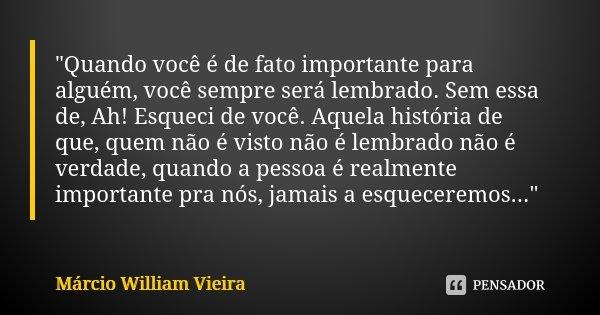 Quando Você é De Fato Importante Márcio William Vieira