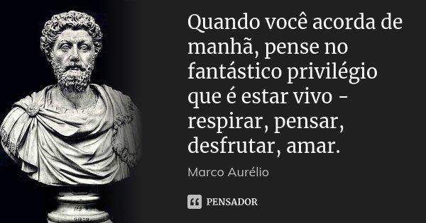 Quando você acorda de manhã, pense no fantástico privilégio que é estar vivo - respirar, pensar, desfrutar, amar.... Frase de Marco Aurélio.