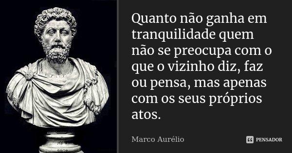 Quanto não ganha em tranquilidade quem não se preocupa com o que o vizinho diz, faz ou pensa, mas apenas com os seus próprios atos.... Frase de Marco Aurélio.