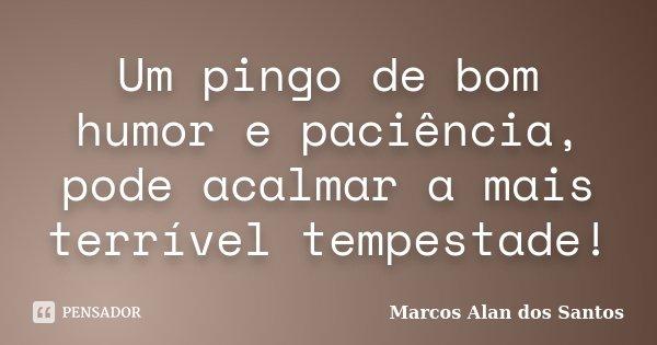 Um pingo de bom humor e paciência, pode acalmar a mais terrível tempestade!... Frase de Marcos Alan dos Santos.