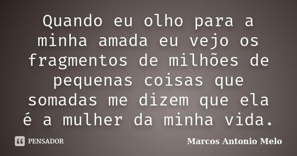 Quando eu olho para a minha amada eu vejo os fragmentos de milhões de pequenas coisas que somadas me dizem que ela é a mulher da minha vida.... Frase de Marcos Antonio Melo.