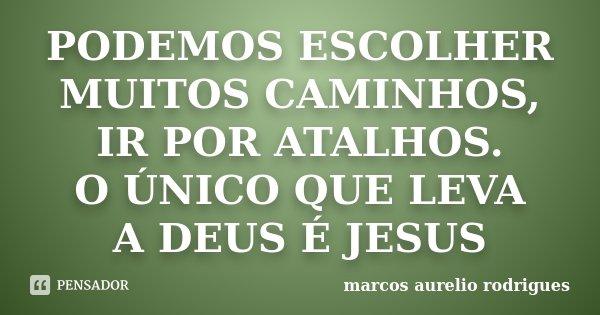 PODEMOS ESCOLHER MUITOS CAMINHOS, IR POR ATALHOS. O ÚNICO QUE LEVA A DEUS É JESUS... Frase de marcos aurelio rodrigues.