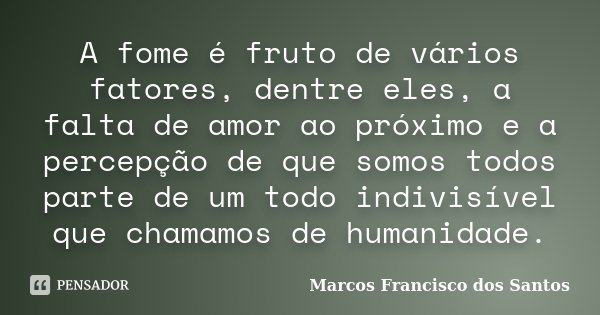 A Fome é Fruto De Vários Fatores Marcos Francisco Dos Santos
