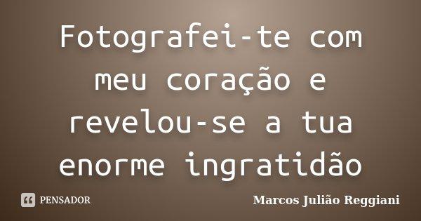 Fotografei-te com meu coração e revelou-se a tua enorme ingratidão... Frase de Marcos Julião Reggiani.