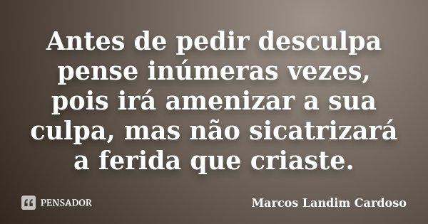 Antes de pedir desculpa pense inúmeras vezes, pois irá amenizar a sua culpa, mas não sicatrizará a ferida que criaste.... Frase de Marcos Landim Cardoso.