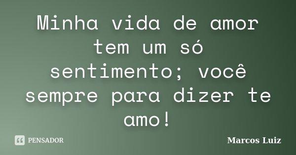 Minha vida de amor tem um só sentimento; você sempre para dizer te amo!... Frase de Marcos Luiz.