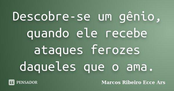 Descobre-se um gênio, quando ele recebe ataques ferozes daqueles que o ama.... Frase de Marcos Ribeiro Ecce Ars.