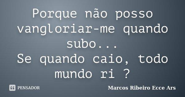 Porque não posso vangloriar-me quando subo... Se quando caio, todo mundo ri ?... Frase de Marcos Ribeiro Ecce Ars.