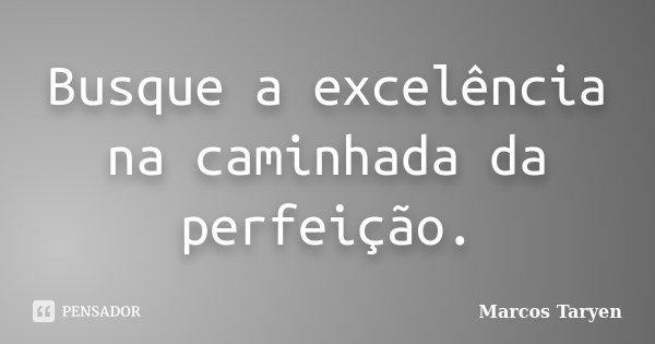Busque a excelência na caminhada da perfeição.... Frase de Marcos Taryen.