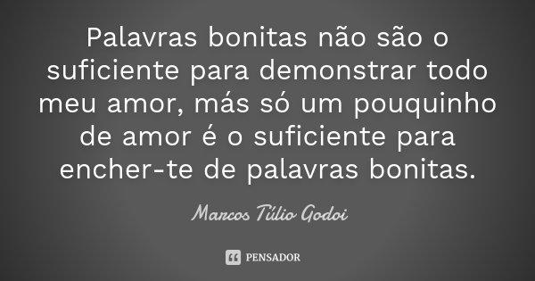 Palavras bonitas não são o suficiente para demonstrar todo meu amor, más só um pouquinho de amor é o suficiente para encher-te de palavras bonitas.... Frase de Marcos Túlio Godoi.
