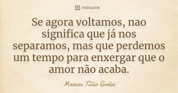 Se agora voltamos, nao significa que já nos separamos, mas que perdemos um tempo para enxergar que o amor não acaba.... Frase de Marcos Túlio Godoi.