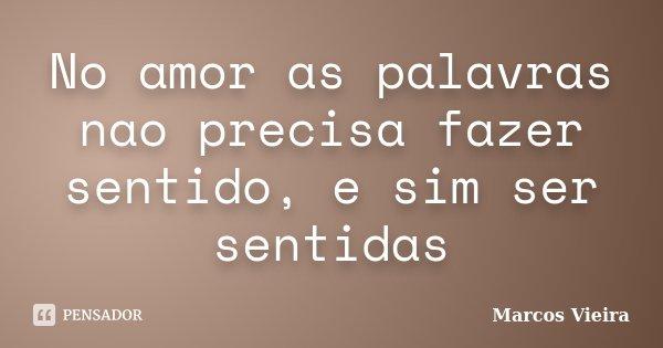 No amor as palavras nao precisa fazer sentido, e sim ser sentidas... Frase de Marcos Vieira.