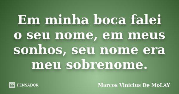 Em minha boca falei o seu nome, em meus sonhos, seu nome era meu sobrenome.... Frase de Marcos Vinicius De MoLay.