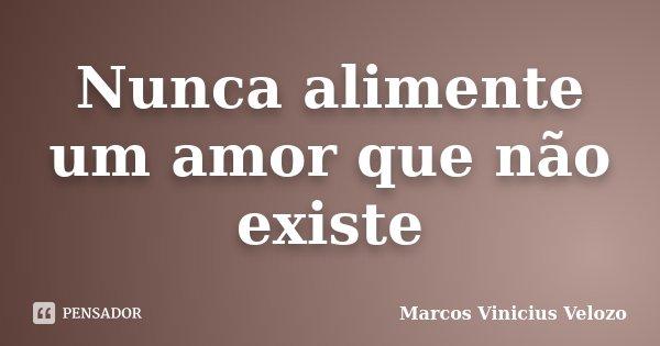 Nunca alimente um amor que não existe... Frase de Marcos Vinicius Velozo.