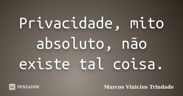 Privacidade, mito absoluto, não existe tal coisa.... Frase de Marcos Vinícius Trindade.