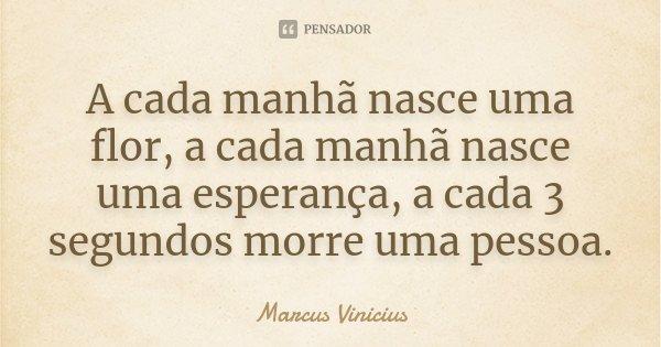 A cada manhã nasce uma flor, a cada manhã nasce uma esperança, a cada 3 segundos morre uma pessoa.... Frase de Marcus Vinicius.