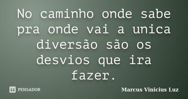 No caminho onde sabe pra onde vai a unica diversão são os desvios que ira fazer.... Frase de Marcus Vinicius Luz.