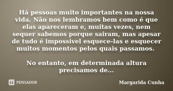 Há pessoas muito importantes na nossa vida. Não nos lembramos bem como é que elas apareceram e, muitas vezes, nem sequer sabemos porque sairam, mas apesar de tu... Frase de Margarida Cunha.