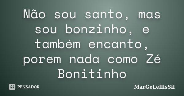 Não sou santo, mas sou bonzinho, e também encanto, porem nada como Zé Bonitinho... Frase de MarGeLellisSil.