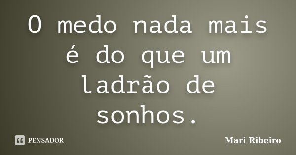 O medo nada mais é do que um ladrão de sonhos.... Frase de Mari Ribeiro.